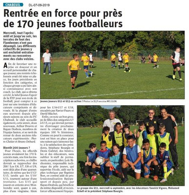 Dauphiné libéré du 07-09-2019- Reprise du foot à Chabeuil