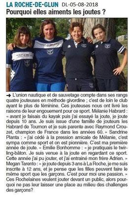 Dauphiné Libéré du 05-08-2018- Joutes féminines