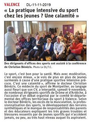 Le Dauphiné Libéré du 11-11-2019- Colloque Sport santé jeunes avec CDOTS 07-26