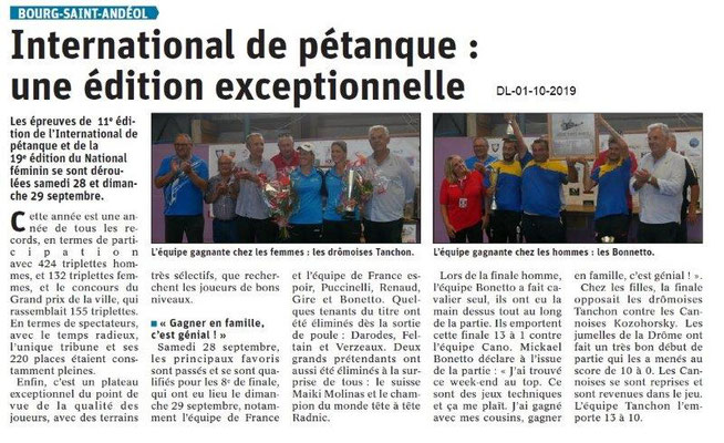 Dauphiné libéré du 01-10-2019- International de Pétanque BSA