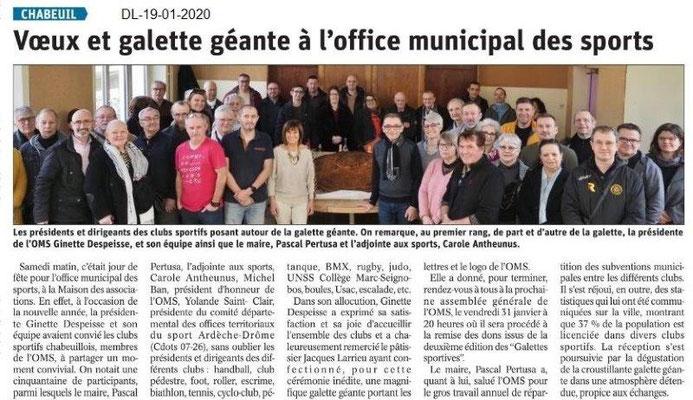 Dauphiné Libéré du 19-01-2020- Voeux OMS Chabeuil