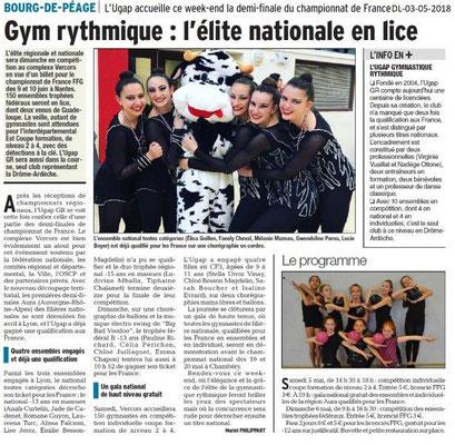Dauphiné Libéré du 03-05-2018-Gym rythmique-Bourg de Péage