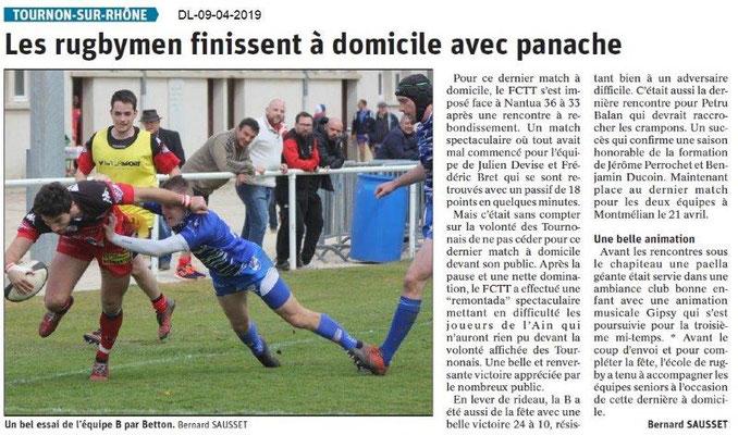 Le Dauphiné Libéré du 09-04-2019- Les rugbymen de Tournon