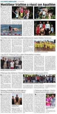 Dauphiné Libéré du 26-06-2016- Sports Montiliens
