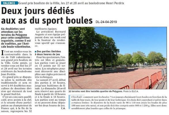 Le Dauphiné Libéré du 24-04-2019- Sport Boules à Valence