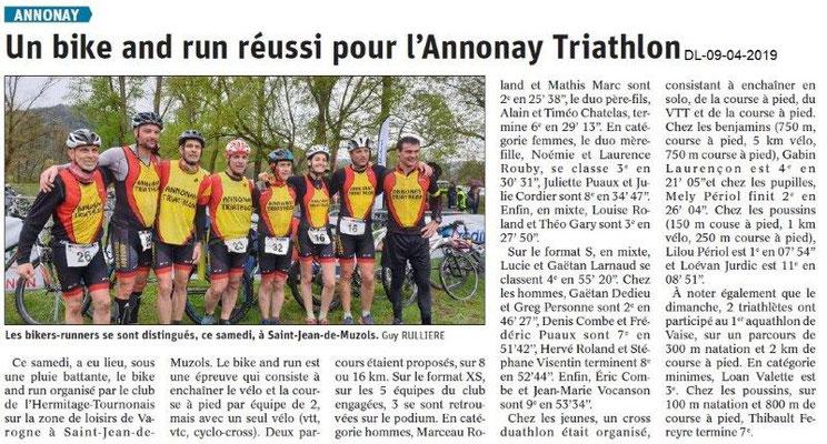 Le Dauphiné Libéré du 09-04-2019- Bike d'Annonay