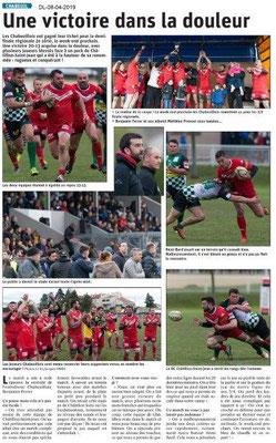Le Dauphiné Libéré du 08-04-2019- Rugby Chabeuil