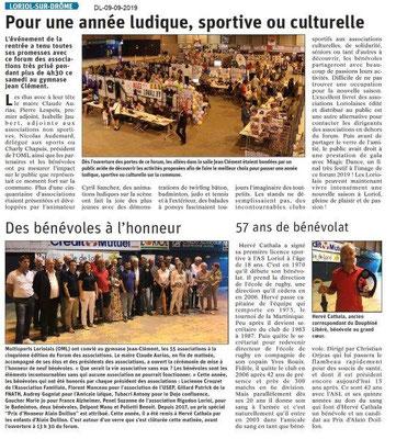 Dauphiné libéré du 09-09-2019- Forum des associations de Loriol