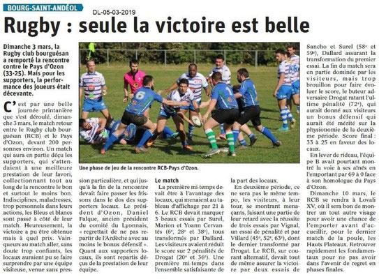 Le Dauphiné Libéré du 05-03-2019- Rugby de Bourg Saint-Andéol