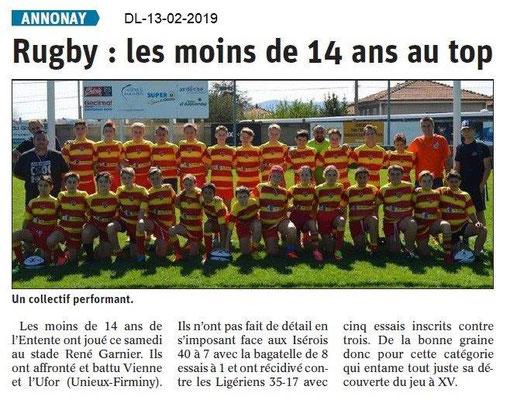 Dauphiné Libéré du 13-02-2019- Rugby jeu à XV d'Annonay