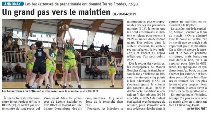 Le Dauphiné Libéré du 10-04-2019- Les basketteuses d'Annonay
