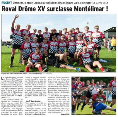 Dauphiné Libéré du 12-06-2016- Rugby à Portes- Finales du Sud-Est