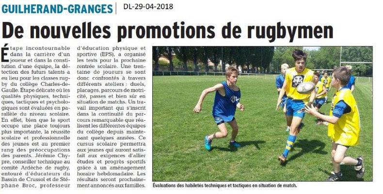Dauphiné Libéré du 29-04-2018-Promotion Rugby-Guilherand-Granges