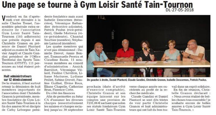 Dauphiné Libéré du 27-05-2018- Tain-Tournon