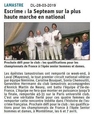 Dauphiné Libéré du 28-03-2019- Les épéiste lamastroises