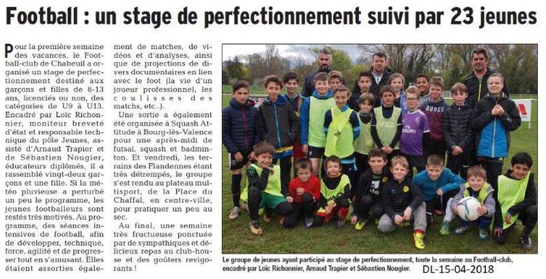 Dauphiné Libéré du 15-04-2018-Stage de Foot-Chabeuil