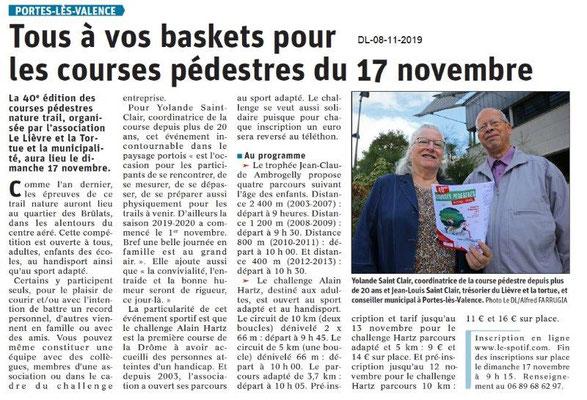 Le Dauphiné Libéré du 08-11-2019- Courses pédestres à PLV