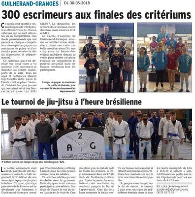 Dauphiné libéré du 30-05-2018- Escrime et jiu-jitsu à Guilherand-Granges