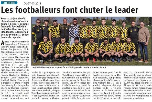 Dauphiné Libéré du 27-03-2019- Foot de CHABEUIL
