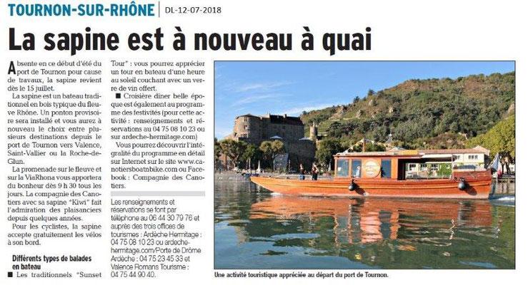 Dauphiné Libéré du 12-07-2018- La Sapine reprend du service à Tournon sur Rhône