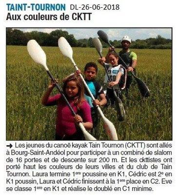 Dauphiné Libéré du -26-06-2016- Canoë Kayack de Tain-Tournon