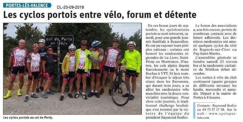Dauphiné libéré du 20-09-2019- Les cyclos Portois