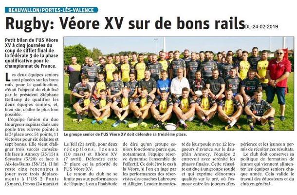 Dauphiné Libéré du 24-02-2019- Véore / XV de PLV