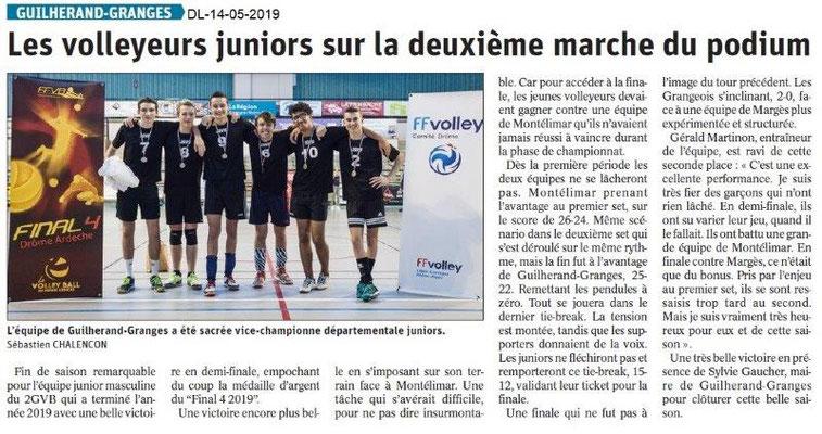 Le Dauphiné Libéré du 14-05-2019- Les volleyeurs de Guilherand