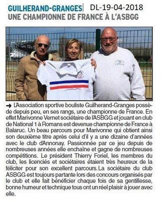 Dauphiné Libéré du 19-04-2018-Championne de France-Guilherand-Granges -