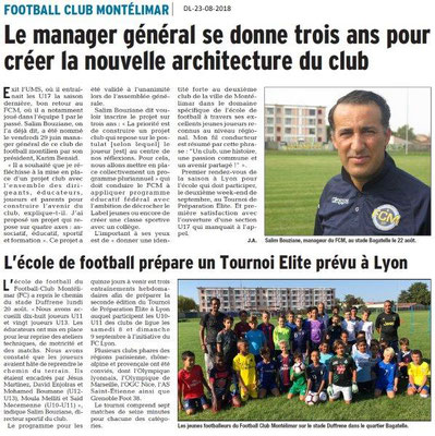 Dauphiné Libéré du 23-08-2018- RClub Foot de Montélimar