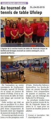 Dauphiné Libéré du -24-02-2019- Tournois de Tennis GG