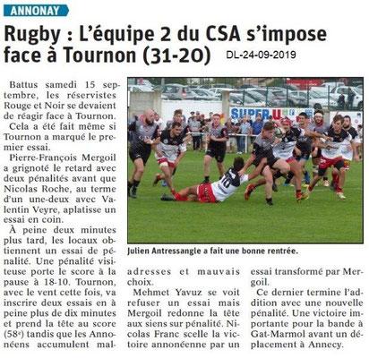 Dauphiné libéré du 24-09-2019- Equipe 2 Rugby d'Annonay