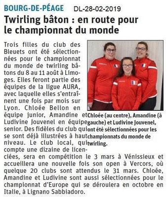 Dauphiné Libéré du 28-02-2019- Twirling Bourg de Péage