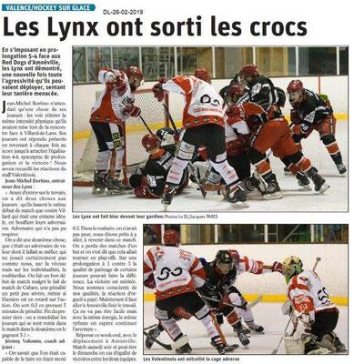 Dauphiné Libéré du 26-02-2019- Les Lynx de Valence