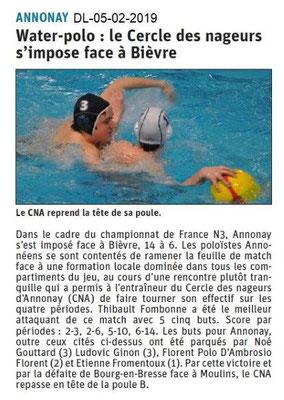 Dauphiné Libéré du 05-02-2019 - Water Polo à Annonay