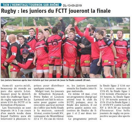 Le Dauphiné Libéré du 13-05-2019- TainTournon Rugby
