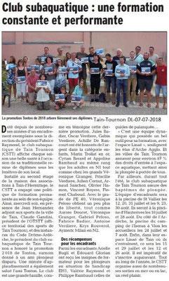 Dauphiné Libéré du 07-07-2018- Club subaquatique Tain-Tournon