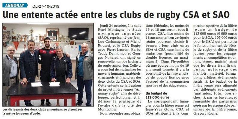 Dauphiné libéré du 27-10-2019- Entente Rugby CSA et SAO