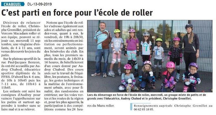Dauphiné libéré du 13-09-2019- Roller à Chabeuil