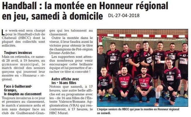 Dauphiné Libéré du 27-04-2018-Handball- Chabeuil