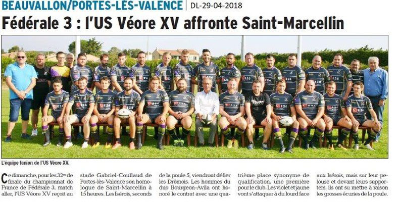 Dauphiné Libéré du 29-04-2018-US Véore XV-Portes-lès-Valence