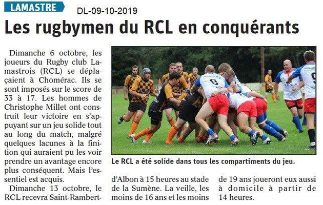 Dauphiné libéré du 09-10-2019- Rugby de Lamastre