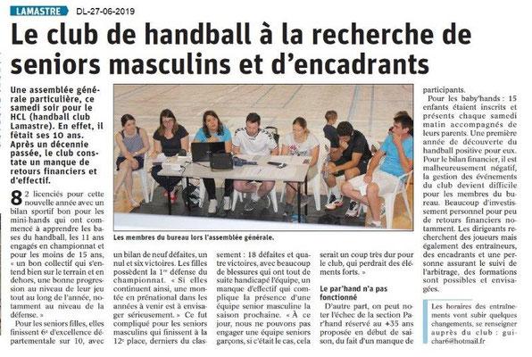 Dauphiné Libéré du 27-06-2019- Handball de Lamastre