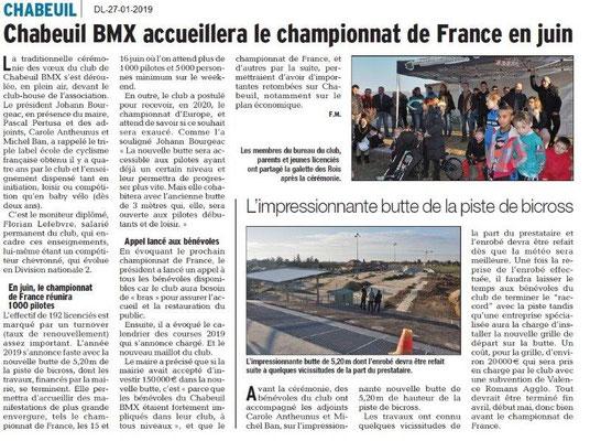Dauphiné Libéré du 27-01-2019- BMX en juin à Chabeuil