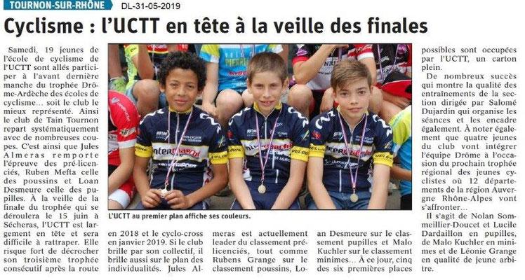 Le Dauphiné libéré du 31-05-2019- Cyclisme Tain-Tournon