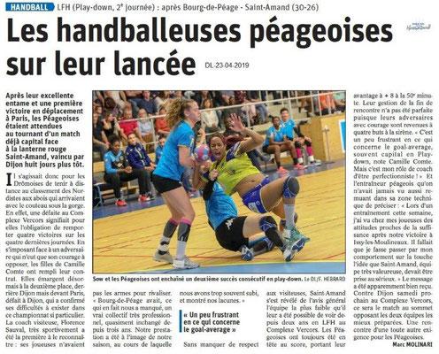 Le Dauphiné Libéré du 23-04-2019- Handballeuses péageoises