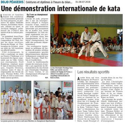 Dauphiné Libéré du 08-07-2018- Démonstration de Kata- Bourg de Péage