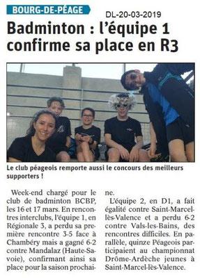 Dauphiné Libéré du 20-03-2019- Badminton de Bourg de Péage