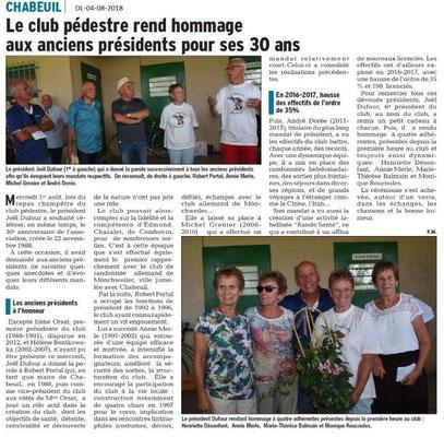 Dauphiné Libéré du 05-08-2018- Le Club pédestre honore les anciens