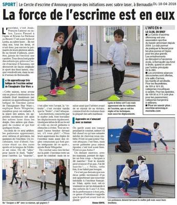 Dauphiné Libéré du 18-04-2018-Escrime à Annonay